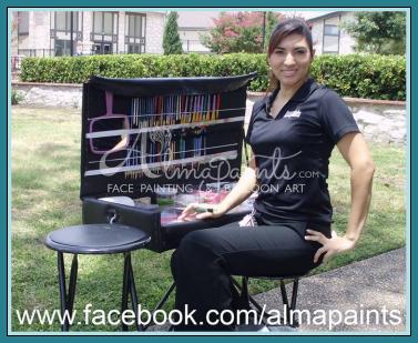 Face Painting San Antonio, Almapaints face painting table, face painter