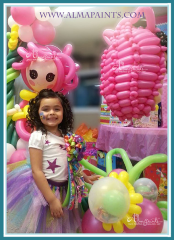 pinata balloon, balloon pinata, balloon art, balloon decor, owl, lala loopsy, flower, balloon column, doll, button, birthday, bithday party, almapaints
