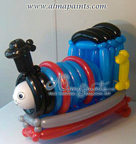 balloon art in San Antonio, Thomas The Train, balloon decor, balloon centerpiece, Almapaints, train, train theme