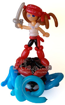 balloon art in San Antonio, girl pirate, pirate theme, Almapaints, balloon centerpieces