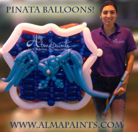 balloon pinata in San Antonio, National night out, balloon decor, balloon art, Almapaints, Alma Vasquez