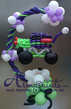 monster truck balloon pinata in San Antino, Almapaints, pinata balloons, balloon decor, balloon art, Alma Vasquez