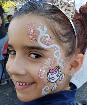 face painting, San Antonio,dalmation dog mask face painting, body art, Almapaints