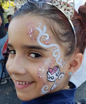 face painting, San Antonio,cat mask face painting, body art, Almapaints